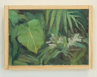 original oil painting corner of the jungle / botanical wall art / jungle painting / tropical painting / landscape painting by Michelle Farro