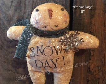 Snow Day Primitive Snowman Ornie Pattern
