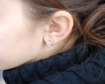 Sapphire earrings. Stud sapphire earrings. Earrings Rose gold Peach Sapphire diamond earrings 14k rose gold. Stud earrings, halo earrings.