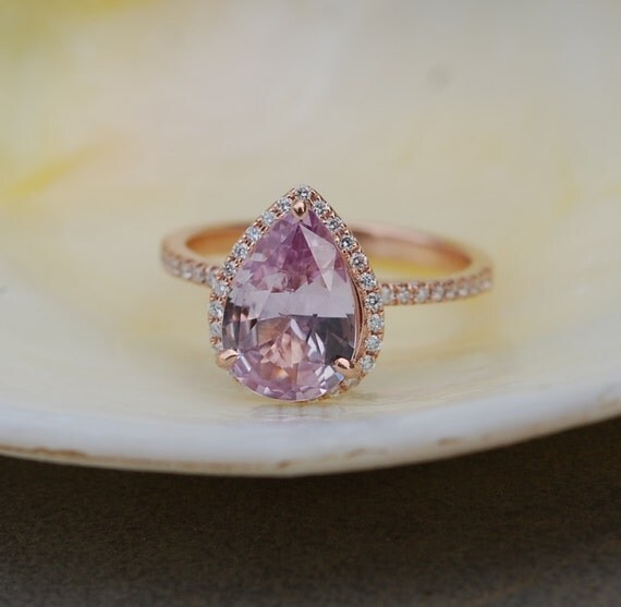 Peach champagne sapphire engagement ring Rose gold engagement