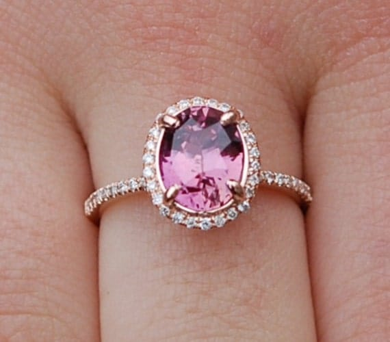 Engagement ring. Pomegranate sapphire ring. Rose gold oval pink sapphire ring. 14k diamond 2.36ct sapphire ring by Eidelprecious