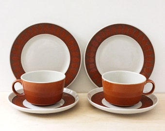 Franciscan Terra Cotta breakfast set. Cups, saucers, plates. 1960s mid century modern serving.