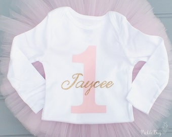 Personalized First Birthday Bodysuit, 1st Birthday Bodysuit, Pink and Gold First Birthday Bodysuit, Name Shirt Number One Bodysuit