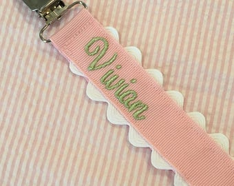 Monogrammed Pacifier Clip Holder Embroidered Name Personalized Baby Child