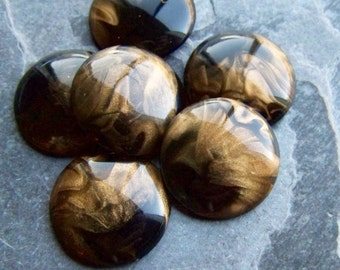 Vintage Cabochon, Lucite Cabochon, Round Cabochon, Black Cabochon, Gold Shimmer, Smoky Quartz, Mink, Sable, Luxe, Flat Back, 24mm, 6 Cabs