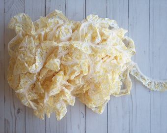 Yellow,white ruffled lace 1 inch,for wedding,home decor,apparel, mixed media,crafts