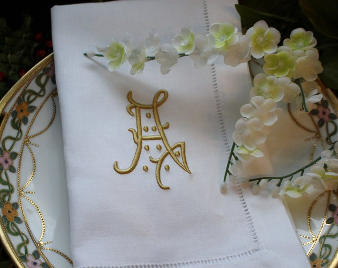 Eight or Twelve Antique Style Monogrammed Linen Dinner Napkins, Wedding Napkins, Bridal Shower, Bridal Luncheon, Head Table Napkins,