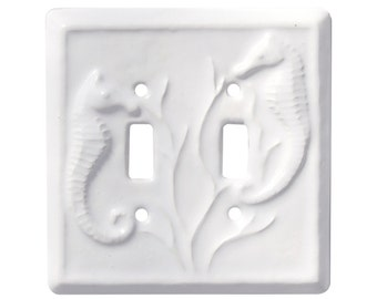 Seahorses Ceramic Double Toggle Switch Plate in Arctic White Glaze