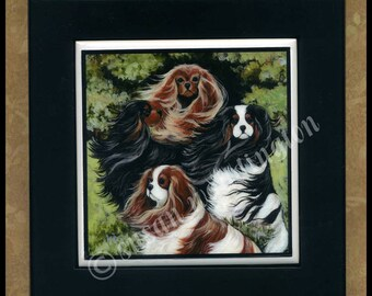 Cavalier King Charles Spaniel framed ceramic tile