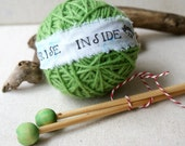 Surprise Yarn Ball- Sugar Mouse Light Green and needles