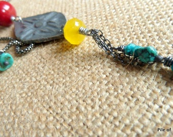Zuni Sun Southwestern Necklace Red Yellow Turquoise Silver Jewelry Sterling Silver Chain Necklace Inviciti Pendant Focal *Lusita Necklace
