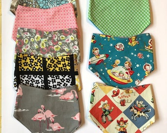 Sunday West - absorbent bandana bibs for baby - snap closure - cowboy flamingo rocket flowers floral - ready to ship - FREE shipping