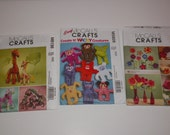 McCall's Crafts Sewing Patterns Set of 3 Flowers, Animals, Wacky Creatures