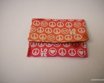 Jewelry Pouch Coin Purse Peace Love Cotton Mini Pocket