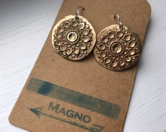 Handmade bronze mandala India earrings on sterling wires