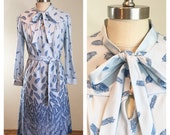Reserved for Osyuliaos 70s Cora's Closet Blue Feather Print Pussy Bow Belted Secretary Dress, size Medium