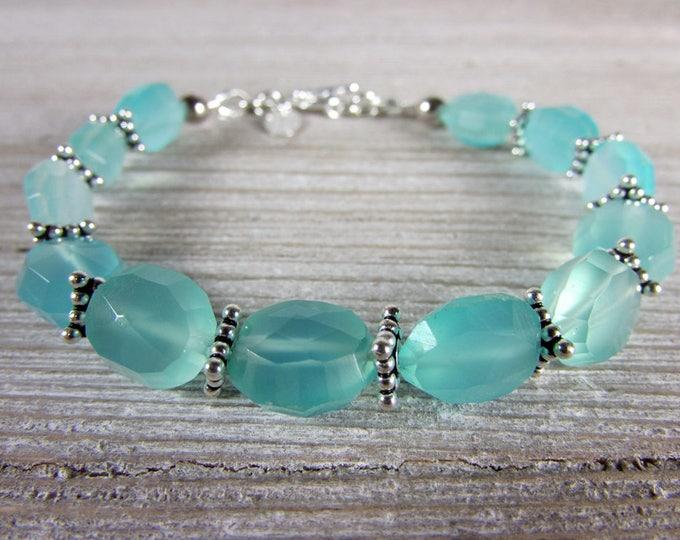 Aqua Blue Chalcedony Bracelet, Sterling Silver & Chalcedony Bracelet