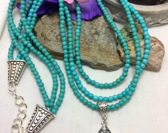 Three Strand #Turquoise #Howlite #Necklace #Boho #Tibetan #Silver #Pendant #Handmade #Adjustable Length