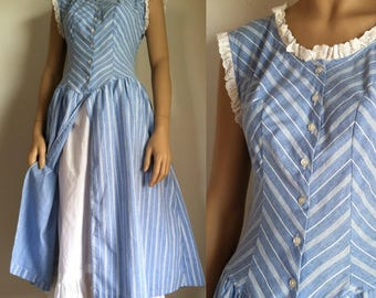 Vintage Dress - Chambray Stripe Eyelet Prairie Dress