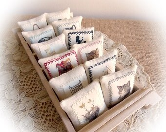 Spring Sale...Linen Dollhouse Pillows...Miniature Picture Cushions in Linen...Hand Embroidery