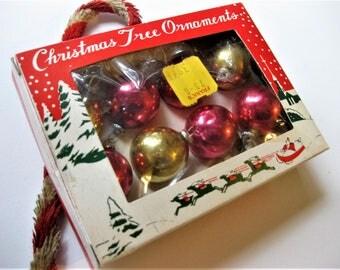 Vintage Small Tree Ornaments, Miniature Bulbs, Original Storage Box, 8 Red and Gold Bulbs