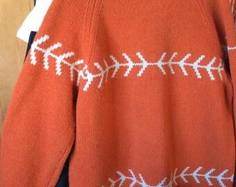 VINTAGE WOOL SWEATER, gap, men's xl, unisex, rusty orange, arrows, knit winter wear