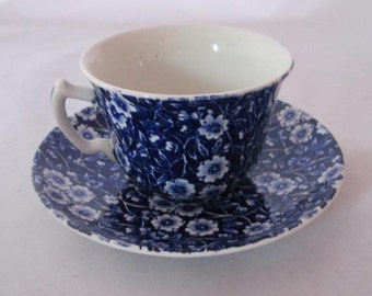 Vintage Crownford China Company Blue Calico Cup and Saucer Flat Cup and Saucer Set Staffordshire England Replacement Calico Cup and Saucer