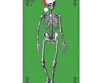 """CHILLINGSWORTH SKELETON SANTA Green Spooky Cotton Quilt Fabric Panel 22.5"""" wide by 44"""" long"""