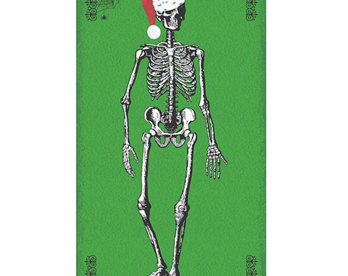 "CHILLINGSWORTH SKELETON SANTA Green Spooky Cotton Quilt Fabric Panel 22.5"" wide by 44"" long"