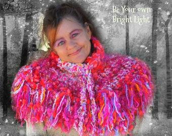 Magical Wunjo Crow Crochet Warm chunky Sari Yarn Hugawl Shawl Poncho neck warmer