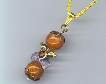 Clepsidra Pendant . Goldstone Pendant . Round Goldstone Beads . Valentine's Day - Measuring Time by enchantedbeas on Etsy