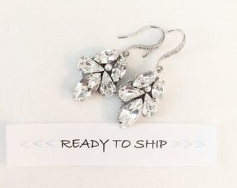 RTS Swarovski Rhinestone Drop Bridal Earrings, wedding earrings, swarovski jewelry, art deco earrings for bride, jeweled earrings
