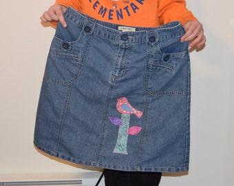 Refashion  Bird Skirt womans size 8
