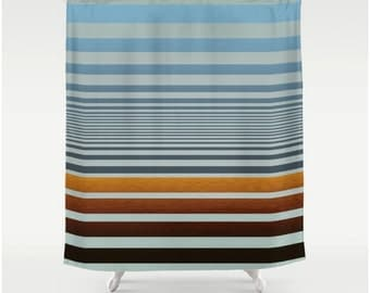 Fabric Shower Curtain in Graphic Wood Stain and Ombre Blue Stripe Pattern, Man Cave Decor