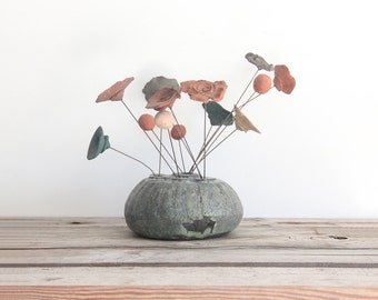 Handmade Pottery Vase w/ Wire Pottery Flowers