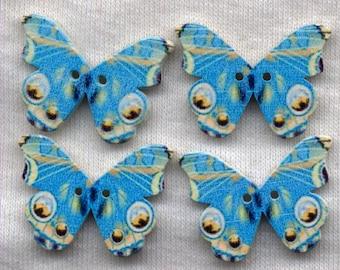 Blue Butterfly Wood Buttons Butterflies Wooden Buttons 25mm (1 inch) Set of 8 /BT408B