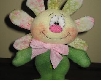 Primitive Handcrafted Standing Whimsical Flower Girl Doll Shelf Sitter Ornie Tuck Bowl Filler