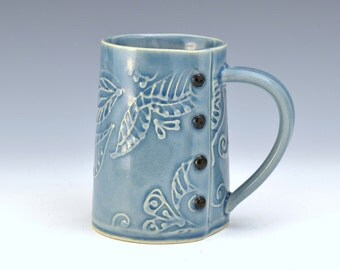 Big Coffee Mug Paisley Pattern, tea cup, tea mug, Buttons READY TO SHIP