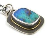 Silver and 24K Gold Australian Boulder Opal Necklace - Sterling and 24K Opal Necklace - Australian Boulder Opal Necklace with 24K Gold