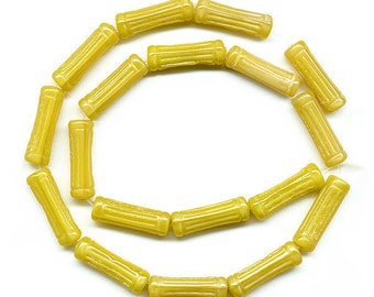 Vintage Yellow Beads 20mm Column Shape Bright Sunny Color Glass