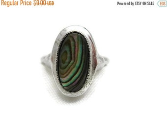 SALE Abalone Ring - Vintage, Avon Costume Jewelry, Silver Tone