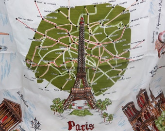 Paris Scarf - Eiffel Tower, French Landmarks, Green and White