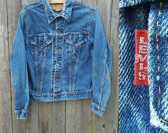 Vintage LEVI'S Denim Jacket  //  Vtg 60s 70s Made in the USA Levi BIG E Distressed Single Stitch Indigo Denim Jacket