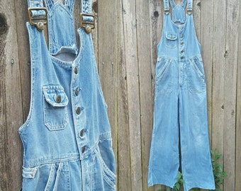 Vintage Overalls // Vtg 70s Distressed Trashed HANG TEN Button Front Fitted Flared Leg Sanforized Cotton Overalls