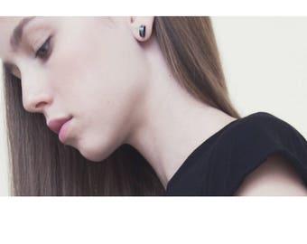 Delicate Silver Earrings, Semicircle studs earring, Geometric Studs, Minimalist Stud earrings, Black Silver Moon Studs, small stud earrings