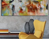 Acrylic original abstract painting, yellow abstract, large painting, painting on canvas, ready to hang, wall art, long painting wall art