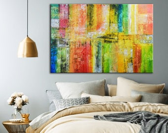 Colorful Abstract Painting Ready to hang, Orange Red Green Blue Painting, Original Rainbow Painting, Mixed media Oil Painting