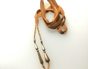 Hairtie, 24 ins  in 14 Ct Gold Fill and Leather