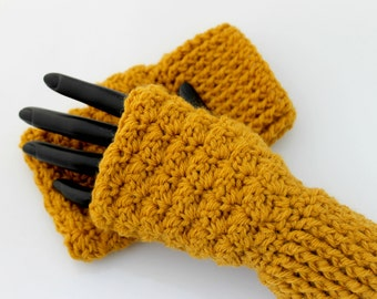 Crocheted Mustard Fingerless Gloves. Mittens. Wristers.
