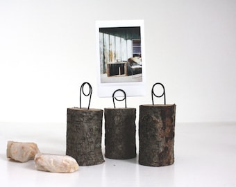 handmade wooden wood tree stump photo holders. set of three. wedding. home decor. wire. instax.